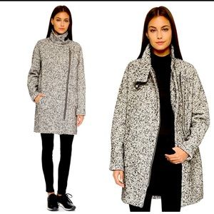*NWT MADEWELL City Grid Tweed black * white * leather trim MOTO Coat!